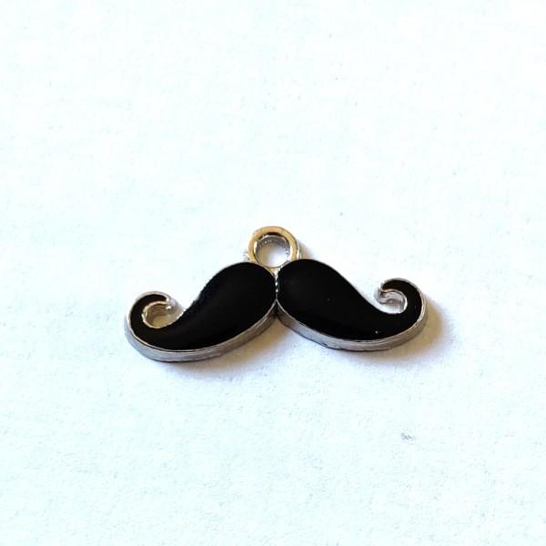 1 Breloque moustache noir - métal & émail - 23x10mm - b75 - Photo n°1