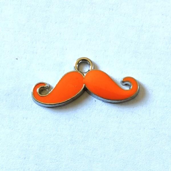 1 Breloque moustache orange - métal & émail - 23x10mm - b79 - Photo n°1