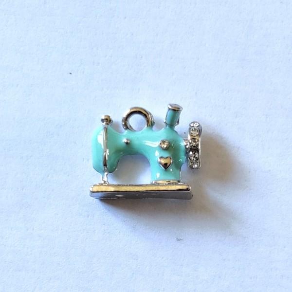 1 Breloque machine à coudre bleu - métal & émail - 16x14mm - b80 - Photo n°1