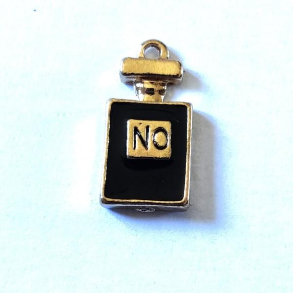 1 Breloque bouteille de parfum noir - métal & émail - 20x10mm - b81 - Photo n°1