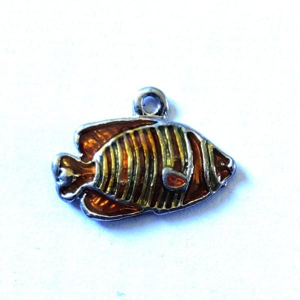 1 Breloque poisson jaune et orange - métal & émail - 20x14mm - b89 - Photo n°1