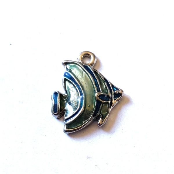1 Breloque poisson bleu / argenté - métal & émail - 17x15mm - b93 - Photo n°1