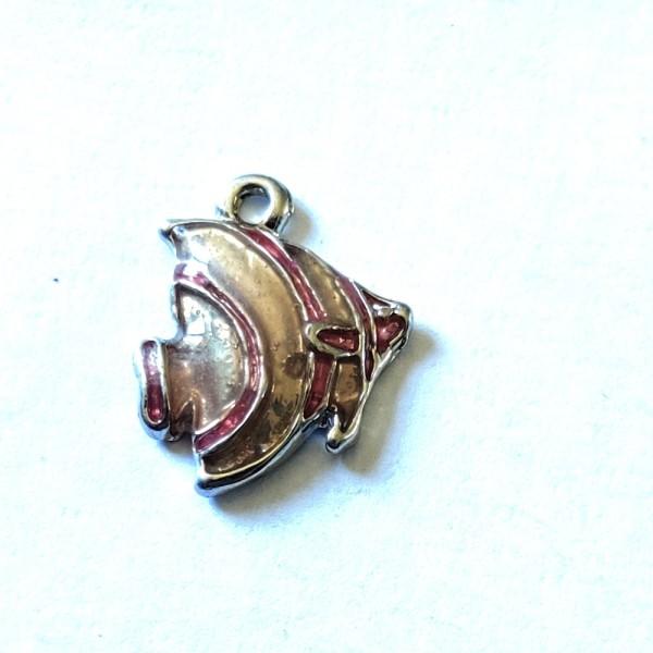 1 Breloque poisson rose - métal & émail - 17x15mm - b96 - Photo n°1