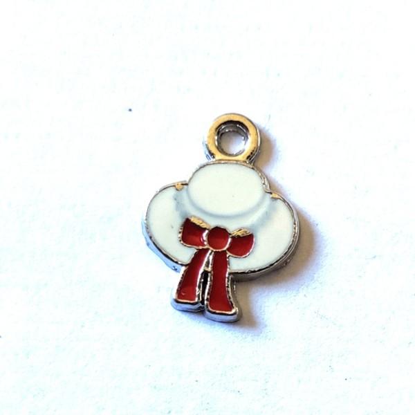 5 Breloques chapeau noeud rouge - métal & émail - 15x11mm - b103 - Photo n°1