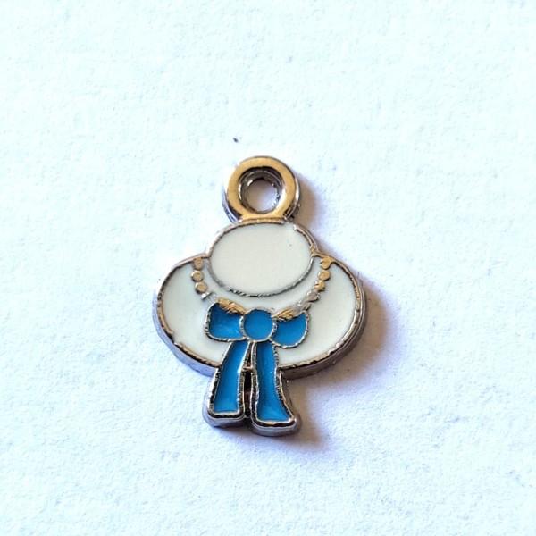 7 Breloques chapeau noeud bleu - métal & émail - 15x11mm - b105 - Photo n°1