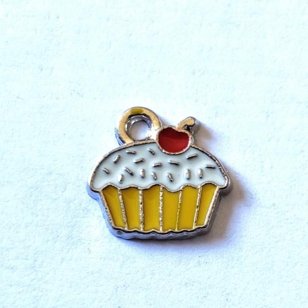 1 Breloque cupcake - métal & émail - 12x12mm - b111 - Photo n°1