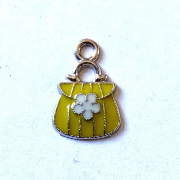 4 Breloques sac a main jaune - métal & émail - 16x10mm - b112 - Photo n°1