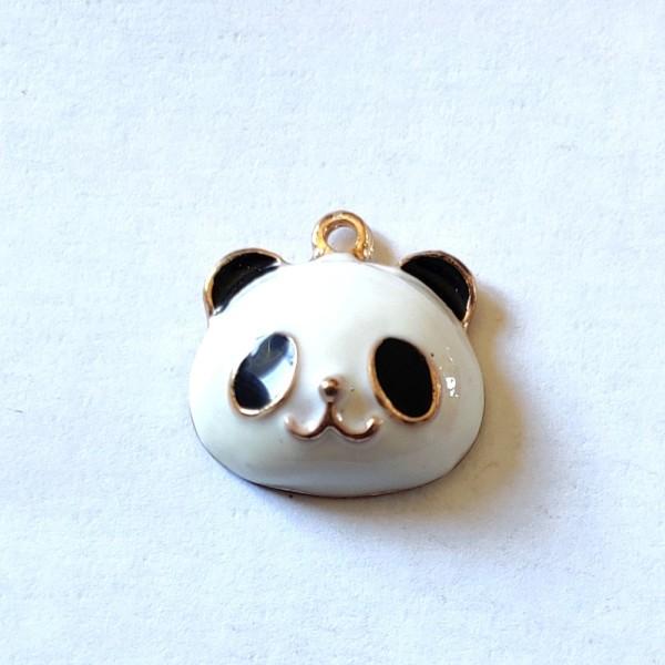 1 Breloque panda - métal & émail - 17x17mm - b117 - Photo n°1