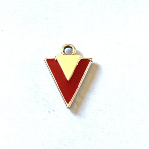 1 Breloque pointe de fleche rouge - métal & émail - 19x14mm - b119 - Photo n°1