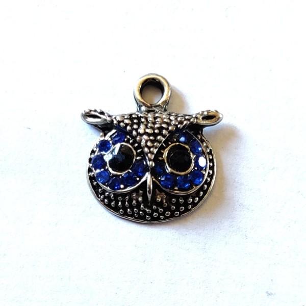 1 Breloque tête de hibou strass bleu - métal - 17x16mm - b121 - Photo n°1