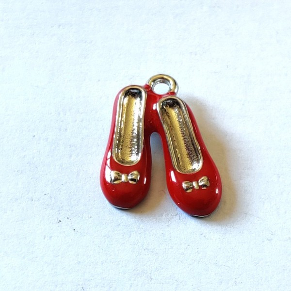 1 Breloque ballerine rouge - métal & émail - 18x14mm - b129 - Photo n°1