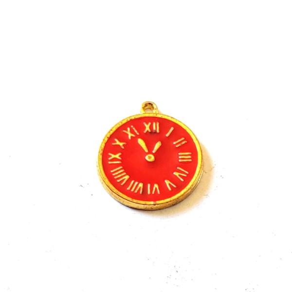 1 Breloque horloge rouge - métal & émail - 14x17mm – b148 - Photo n°1