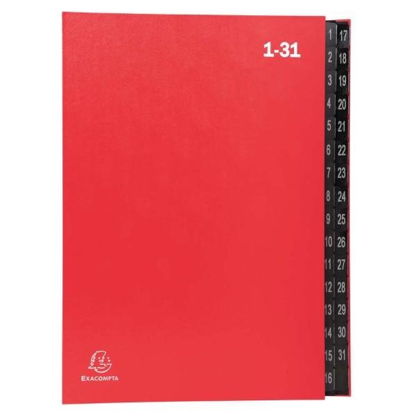 Trieur numérique 1-31 - A4 - 32 compartiments - Rouge - Photo n°1