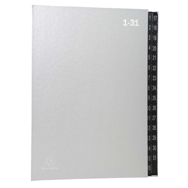 Trieur numérique 1-31 - A4 - 32 compartiments - Argent - Photo n°1