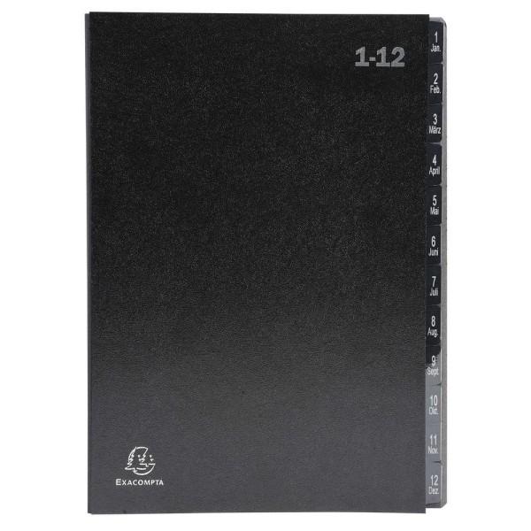 Trieur numérique 1-12 - A4 - 12 compartiments - Noir - Photo n°1