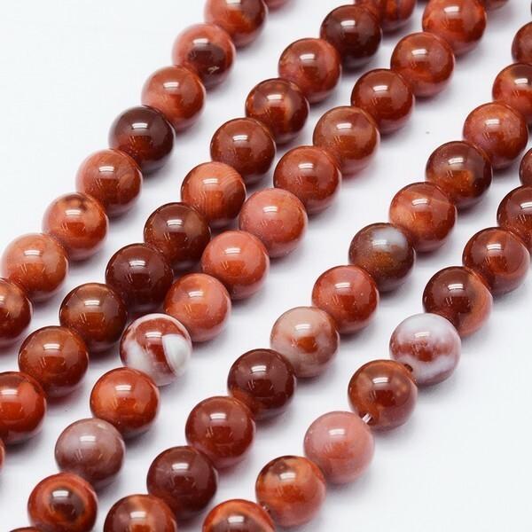 10 perles ronde en pierre naturelle AGATHE 8 mm MARRON ORANGE 469 - Photo n°2