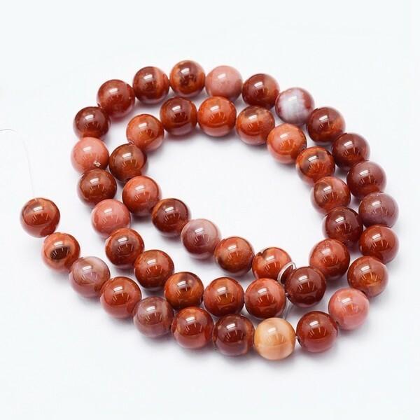 10 perles ronde en pierre naturelle AGATHE 8 mm MARRON ORANGE 469 - Photo n°1
