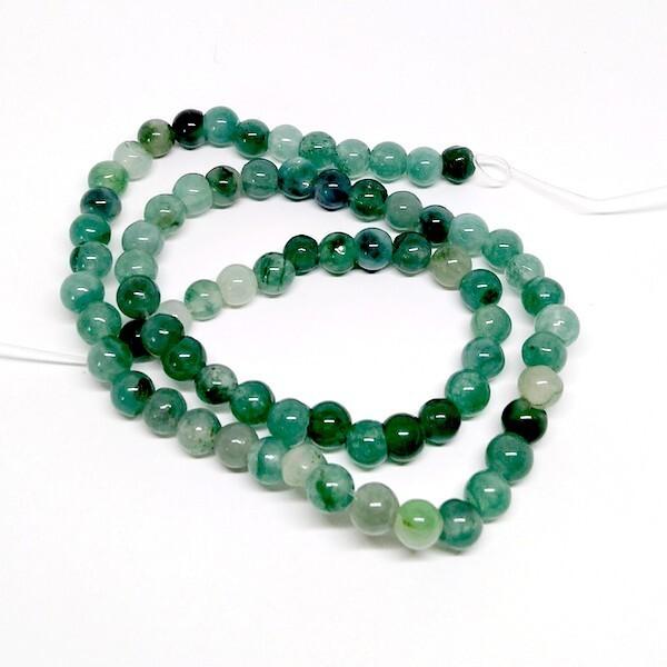 Fil de 60 perles ronde naturelle en jade fabrication bijoux 6 mm VERT 1 - Photo n°1