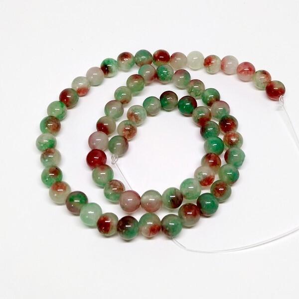 Fil de 60 perles ronde naturelle en jade fabrication bijoux 6 mm VERT 2 - Photo n°1