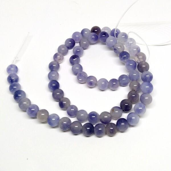 Fil de 60 perles ronde naturelle en jade fabrication bijoux 6 mm VERT DORE - Photo n°1