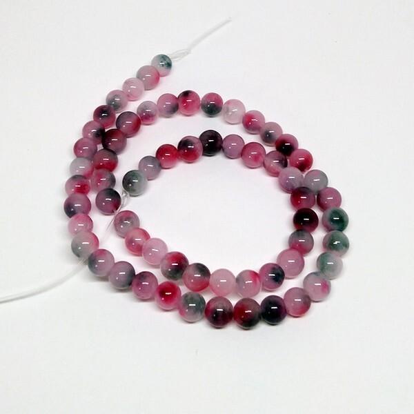 Fil de 60 perles ronde naturelle en jade fabrication bijoux 6 mm ROSE VERT - Photo n°1
