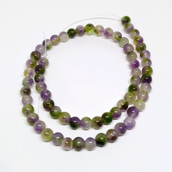 Fil de 60 perles ronde naturelle en jade fabrication bijoux 6 mm MAUVE DORE - Photo n°1