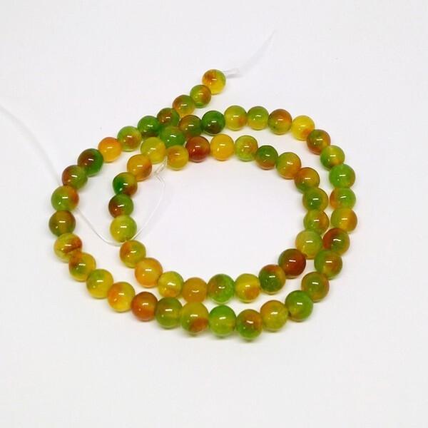Fil de 60 perles ronde naturelle en jade fabrication bijoux 6 mm BEIGE DORE - Photo n°1