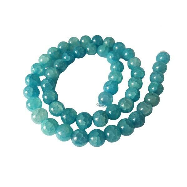 Fil de 48 perles verre craquellé ronde imitation agate fabrication bijoux 8 mm BLEU CLAIR - Photo n°1