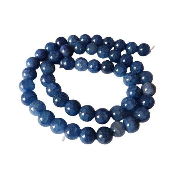 Fil de 48 perles verre craquellé ronde imitation agate fabrication bijoux 8 mm BLEU FONCE - Photo n°1