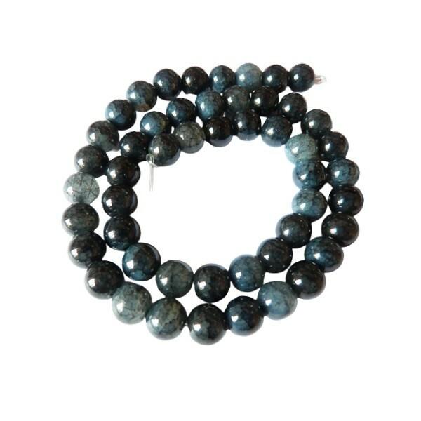 Fil de 48 perles verre craquellé ronde imitation agate fabrication bijoux 8 mm BLEU MARINE - Photo n°1