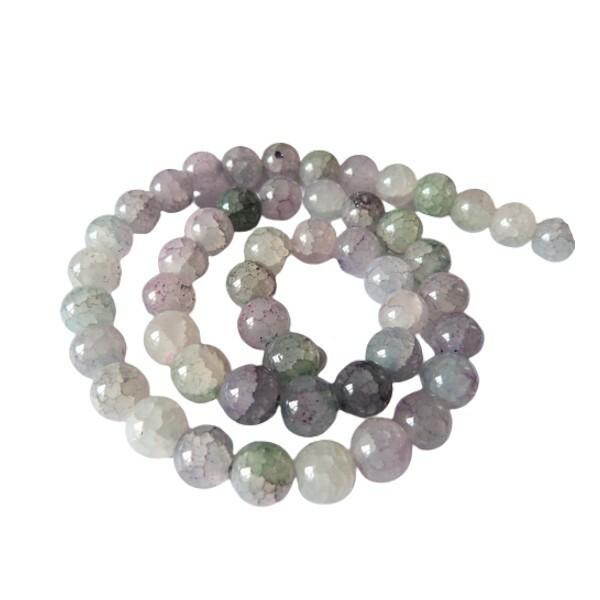 Fil de 48 perles verre craquellé ronde imitation agate fabrication bijoux 8 mm GRIS ROSE - Photo n°1
