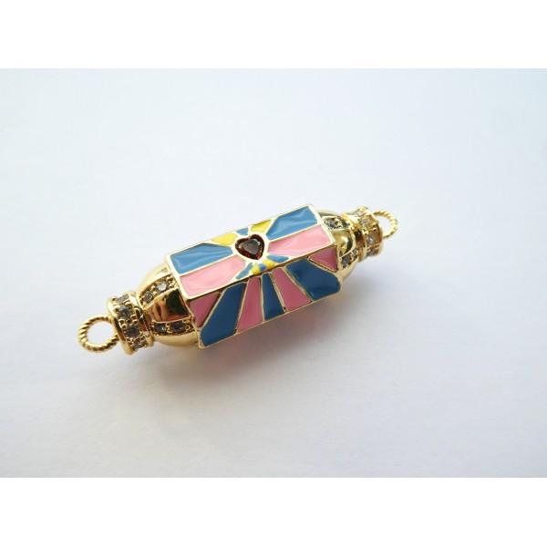1 Connecteur cylindre talisman, porte-bonheur  32*9mm doré, coeur rouge et émail rose, bleu - Photo n°2