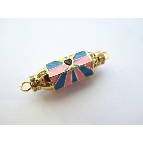 1 Connecteur cylindre talisman, porte-bonheur  32*9mm doré, coeur rouge et émail rose, bleu - Photo n°1