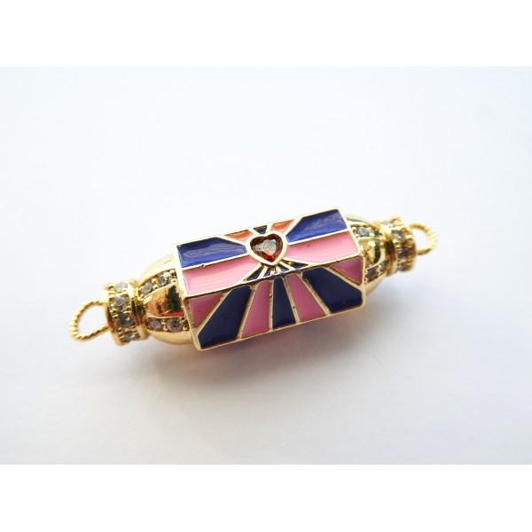 1 Connecteur cylindre talisman, porte-bonheur  32*9mm doré, coeur rouge et émail rose, bleu marine - Photo n°2