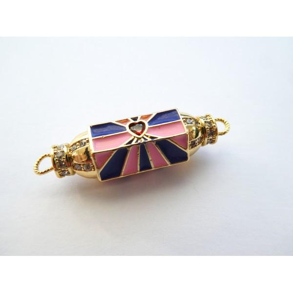 1 Connecteur cylindre talisman, porte-bonheur  32*9mm doré, coeur rouge et émail rose, bleu marine - Photo n°1