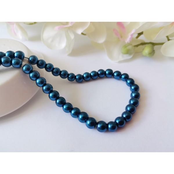 Perles en verre nacré 6 mm bleu acier x 25 - Photo n°1