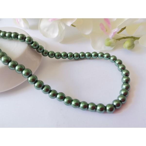 Perles en verre nacré 6 mm vert olive x 25 - Photo n°1