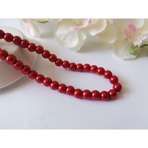 Perles en verre nacré 6 mm rouge x 25 - Photo n°1