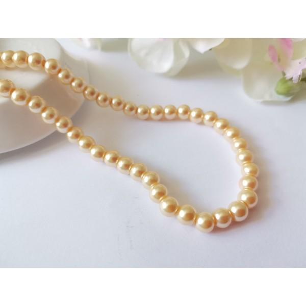 Perles en verre nacré 6 mm jaune pale x 25 - Photo n°1