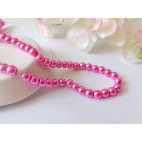 Perles en verre nacré 6 mm rose x 25 - Photo n°1