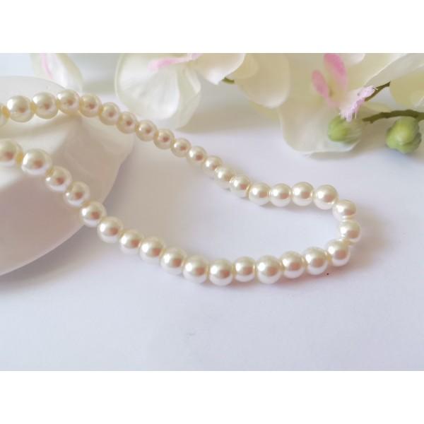 Perles en verre nacré 6 mm blanc cassé x 25 - Photo n°1