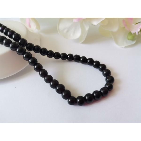 Perles en verre nacré 6 mm noir x 25 - Photo n°1