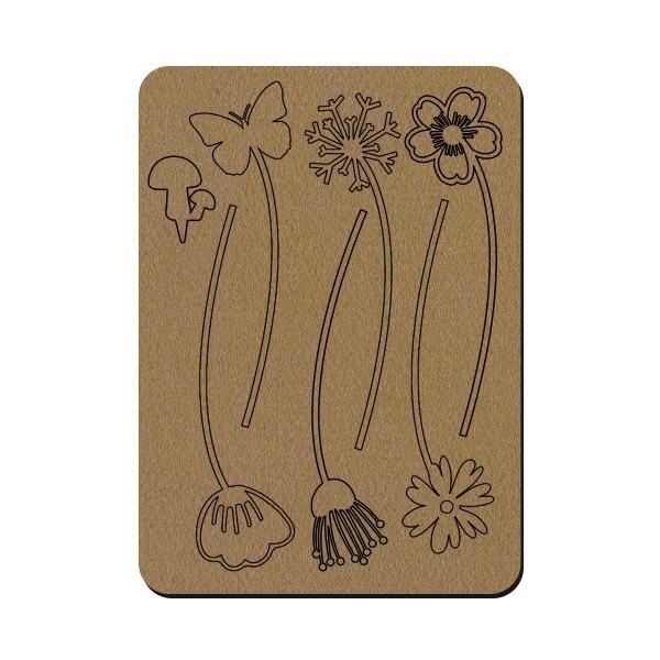 Planche de fleurs en bois - 30 x 41,5 cm - Photo n°1