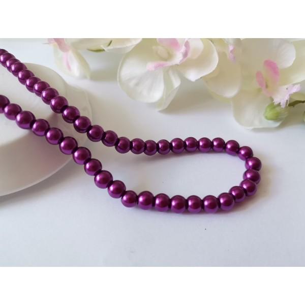 Perles en verre nacré 6 mm violet x 25 - Photo n°1