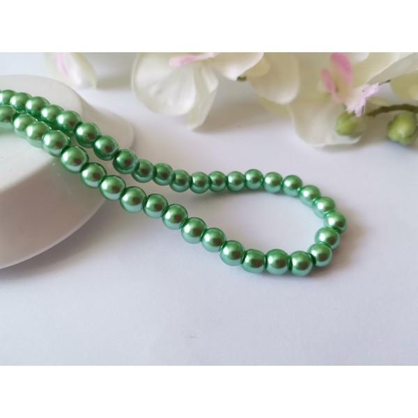 Perles en verre nacré 6 mm vert clair x 25 - Photo n°1