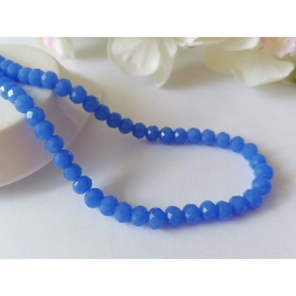 Perles en verre à facette 6 x 4 mm bleu royal x 22 - Photo n°1