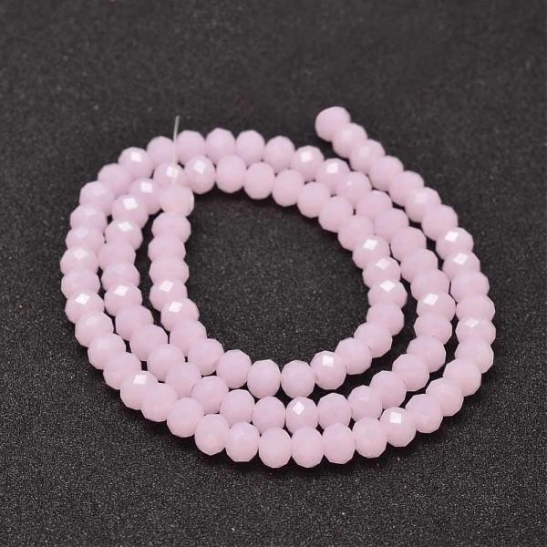 Perles en verre à facette 6 x 4 mm rose clair x 22 - Photo n°2