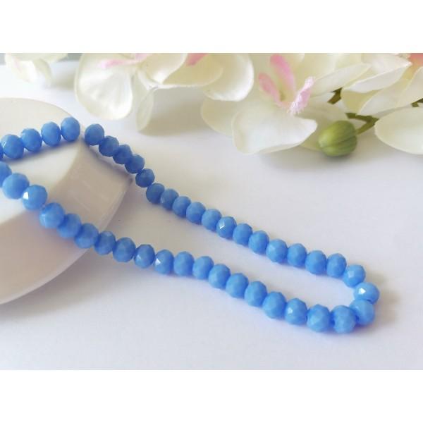Perles en verre à facette 6 x 4 mm bleu acier clair x 22 - Photo n°1