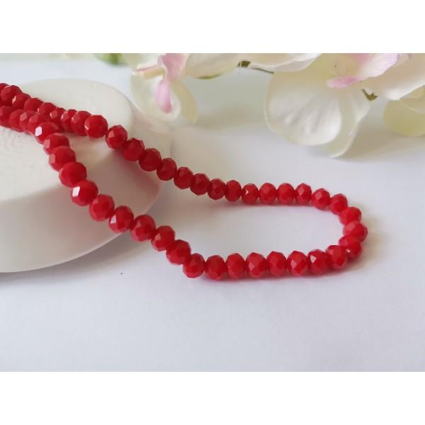 Perles en verre à facette 6 x 4 mm rouge x 22 - Photo n°1