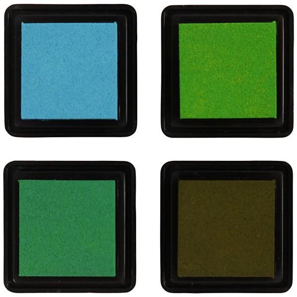 Assortiment de Tampons encreur - Vert - 3,5 x 3,5 cm - 4 pcs - Photo n°2
